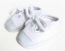 Canvas Tennis Shoes-White for Wellie Wishers Dolls
