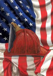 Fireman Helmet Garden Flag