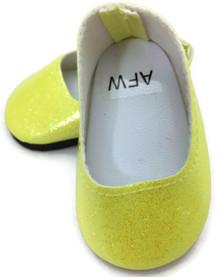Glitter Slip On Dress Shoes-Yellow
