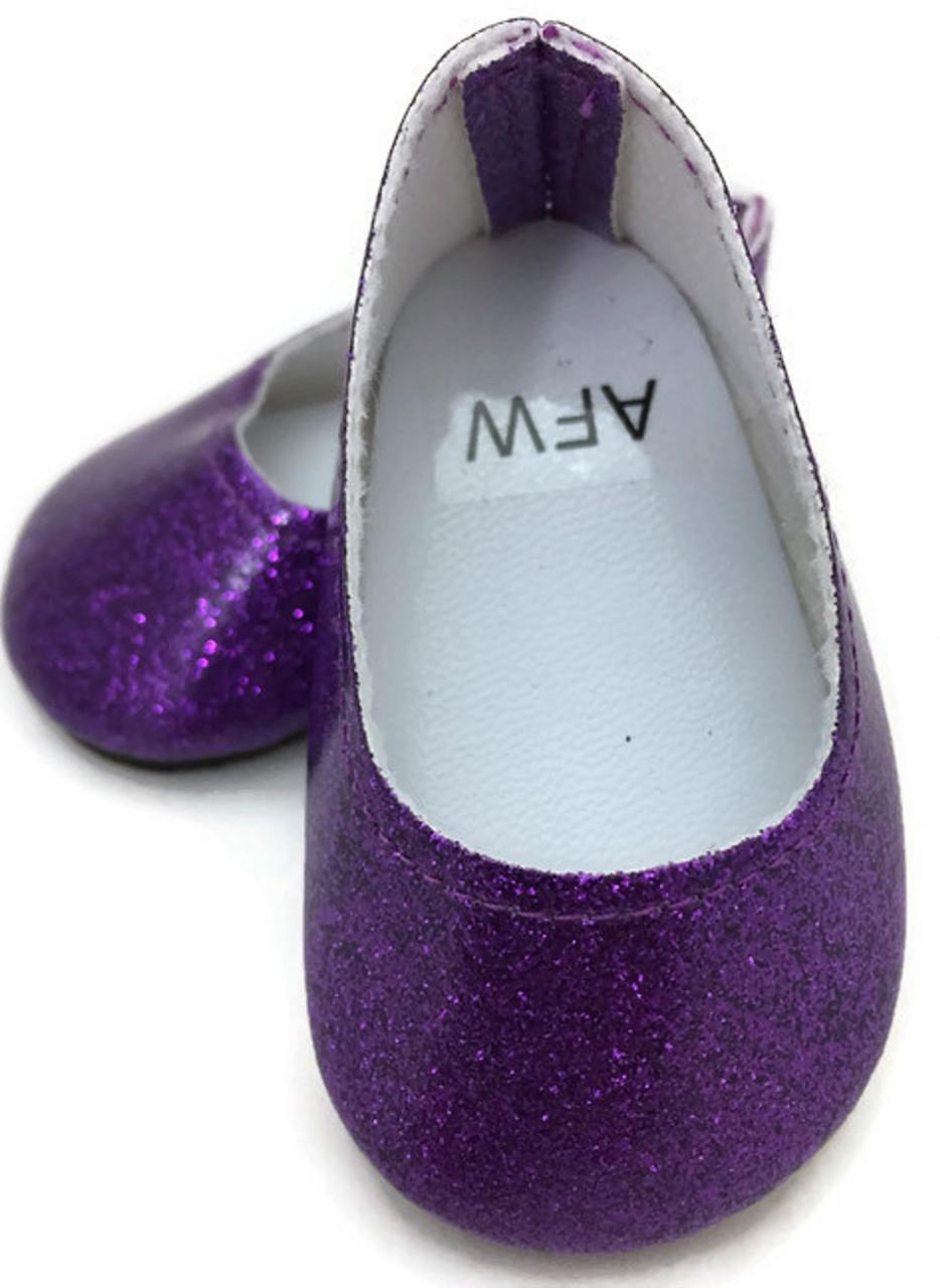 509698df57e7 Glitter Slip On Dress Shoes-Purple - Dori's Doll Boutique