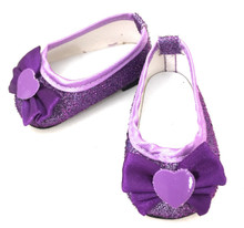 Glitter Dress Shoes with Bow & Heart Accent-Purple