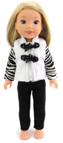 White Quilted Vest, Striped Top, & Black Leggings for Wellie Wishers Dolls