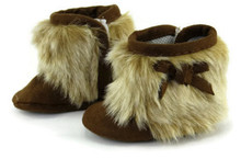 Brown Suede Boots with Fur Trim and Bows