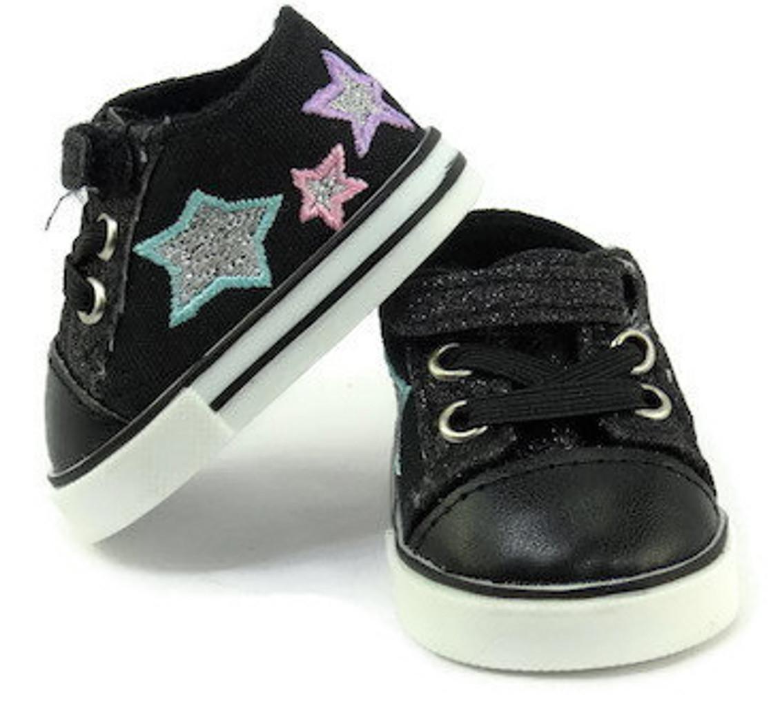 805b5dcc6379 Glitter & Stars Tennis Shoes-Black - Dori's Doll Boutique