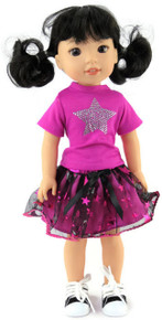 Fuchsia Top with Star & Tutu Skirt for Wellie Wishers Dolls