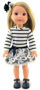 Striped Dress & Hair Barrette for Wellie Wishers Dolls
