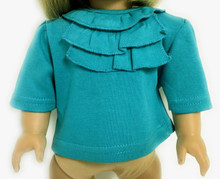 Top with Ruffled Neck-Teal