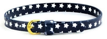 Belt with Gold Buckle-Navy with White Stars