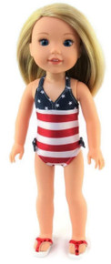 Patriotic Swimsuit for Wellie Wishers Dolls