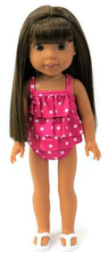 Pink with White Polka Dots 2 pc Swimsuit for Wellie Wishers Dolls