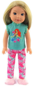 Little Mermaid Pajamas  for Wellie Wishers Dolls