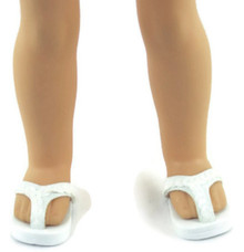 Flip Flop Sandals-White for Wellie Wishers Dolls