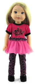 Pink princess top and leggings outfit for Wellie Wishers Dolls