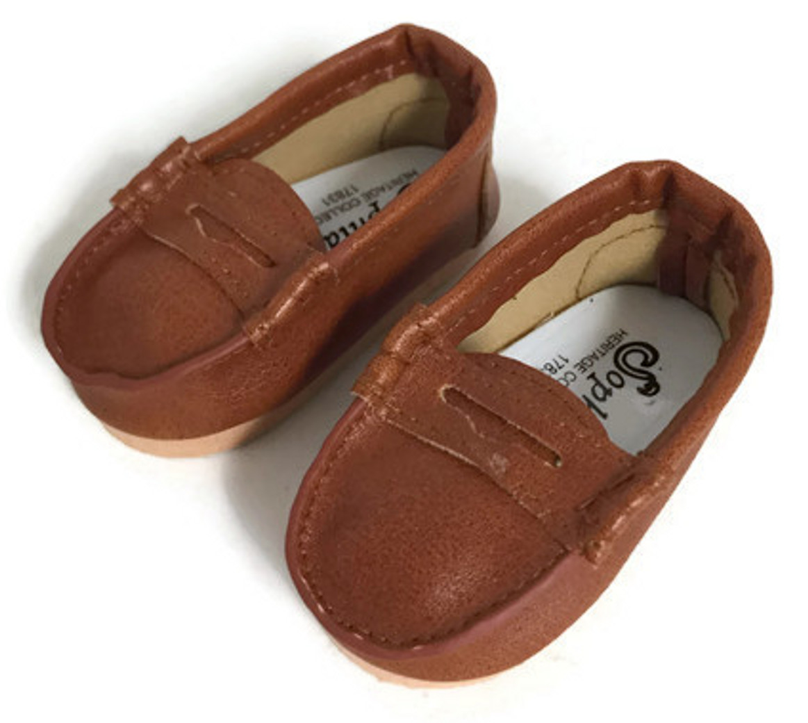 f884dd84d19f Brown Penny Loafer Shoes - Dori s Doll Boutique