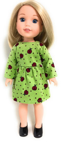 Lime Green Ladybug Corduroy Dress for Wellie Wishers Dolls