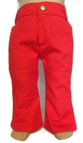 Denim Pants with Pockets-Red