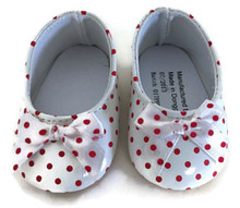 Shoes with Bow-White with Red Polka Dots