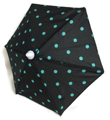 Umbrella-Black with Green Polka Dots