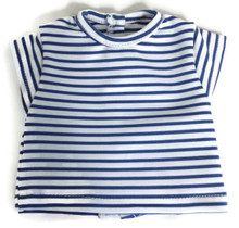 Striped Cap Sleeved Top-Blue & White