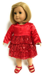Satin and Sequin Party Dress-Red