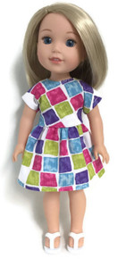 Color Block Print Dress for Wellie Wishers Dolls