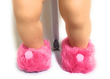 Fuzzy Slippers with Pom Poms-Hot Pink