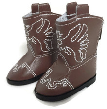 Eagle Cowboy Boots-Brown for Wellie Wishers Dolls