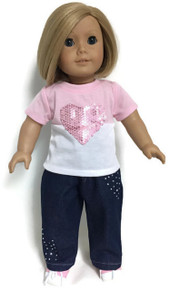 Pink & White Short Sleeved Knit Top with Sequined Heart & Jeans
