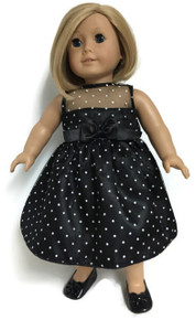 Black with White Polka Dots Satin and Tulle Dress