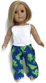 White Tank Top & Frog Print Sleeping Pants