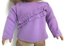 Long Sleeved Knit Shirt with Ruffles-Lavender