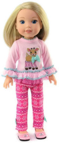 Pink Reindeer Top and Leggings Outfit for Wellie Wishers Dolls
