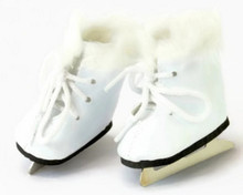 Ice Skates with Fur Trim-White for Wellie Wishers Dolls