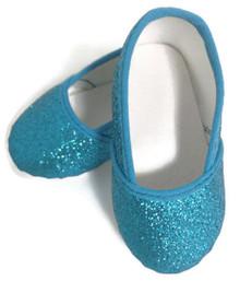 Glitter Slip On Shoes-Turquoise