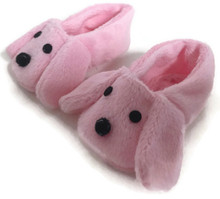 Slippers-Pink Puppy Dog