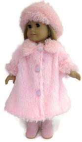 Fluffy Coat & Hat-Pink