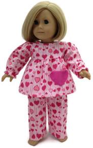 Pajamas-Flannel Pink Heart Print