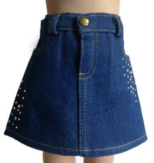 Denim Jean Skirt with Rhinestones