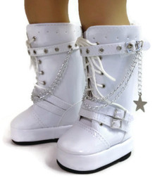 Vinyl Boots with Chains-White