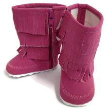Fringed Boots-Dark Pink