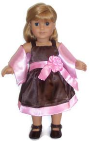 Pink & Brown Satin Dress & Scarf