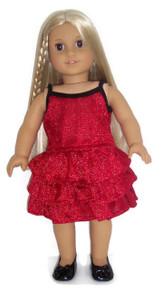 Metallic Red & Black Skirt Set