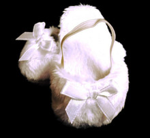 Mule Slippers with Bow-White