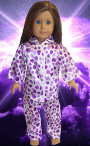 Heart Satin Pajamas-Purple