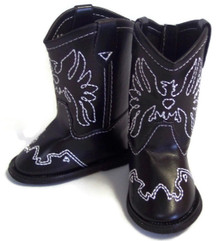 Cowboy Boots-Black with Embroidered Eagle Accent