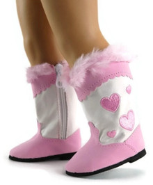 Cowboy Boots-Pink Heart with Fur Trim