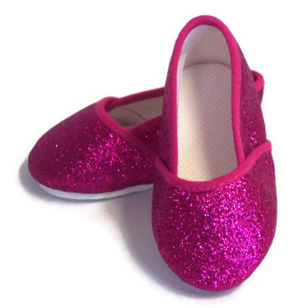 db47fb001264 Slip On Shoes-Fuchsia Pink Glitter - Dori's Doll Boutique