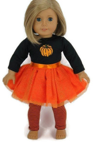 Halloween Pumpkin Tutu Dress & Striped Leggings