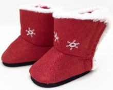 Red Sparkle Boots with Snowflakes