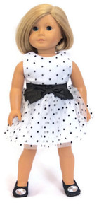 Sleeveless Dress-White with Black Polka Dot